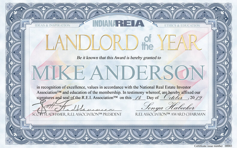 Indiana Landlord of the Year winner at Fort Wayne REIA meeting award ceremony